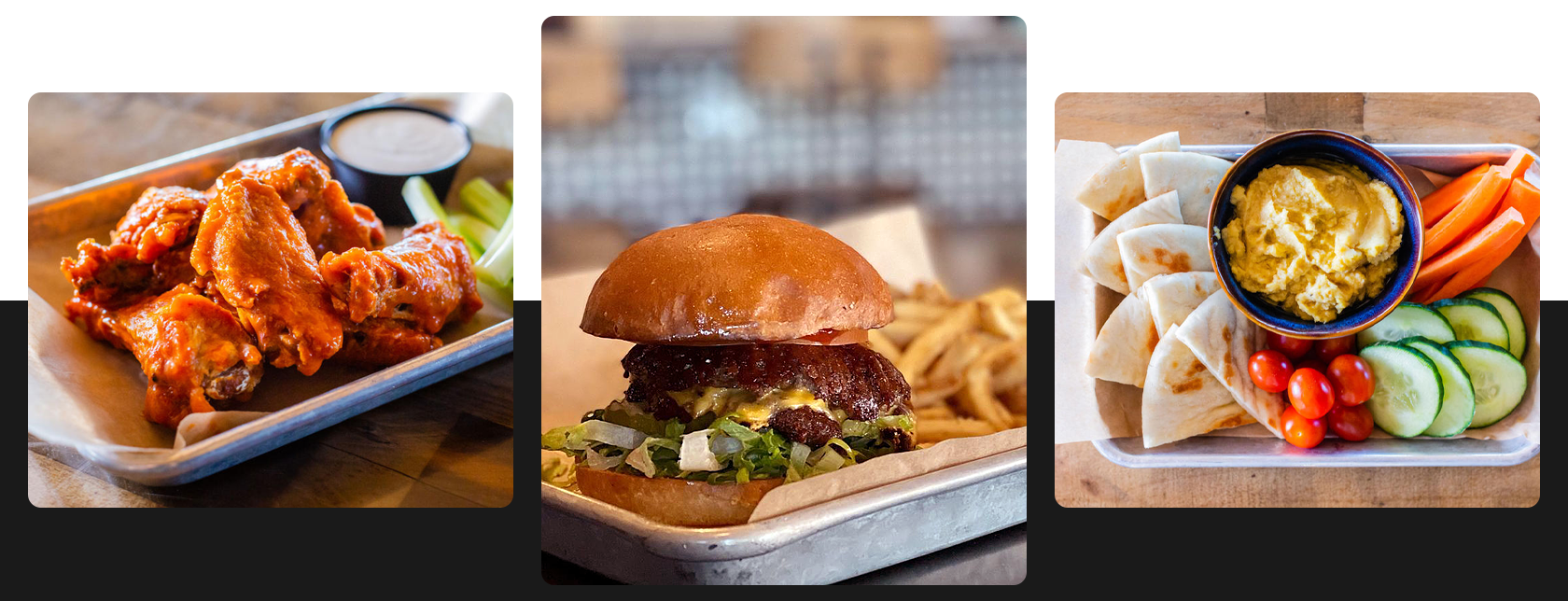 photos of Finley's food featuring wings, a hamburger with fries and a hummus platter with pita